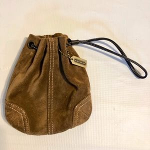Coach Suede Leather Drawstring Clutch